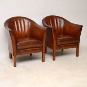 1950's Pair of Danish Vintage Leather Armchairs by Mogens Hansen