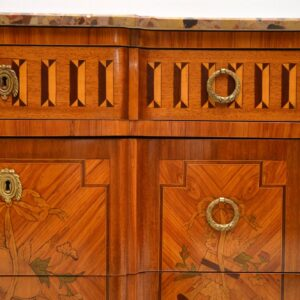 Antique French Marble Top Inlaid Commode