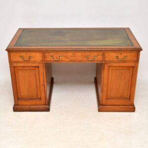 Antique Victorian Golden Oak Pedestal Desk