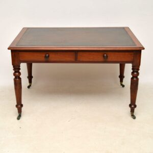 Large Antique Victorian Mahogany Leather Top Writing Table