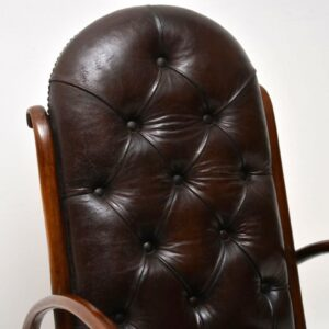 Antique Bentwood & Leather Rocking Chair by Thonet