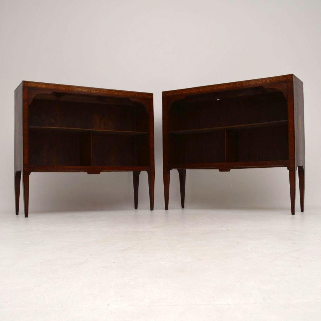 Pair of Antique Swedish Inlaid Rosewood Bookcases