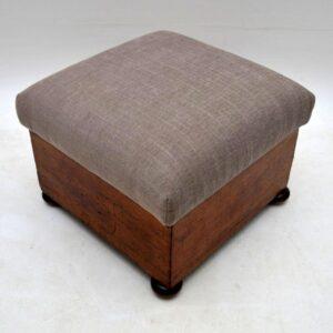 Antique Victorian Mahogany Stool / Storage Box