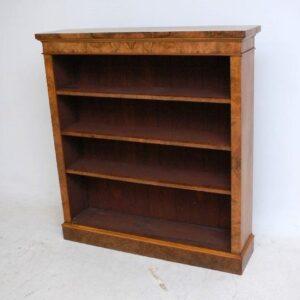 Antique Victorian Burr Walnut Open Bookcase - One of a Pair, Handmade