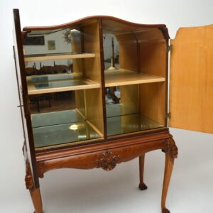 Antique Burr Walnut Cocktail Drinks Cabinet