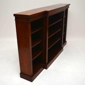 Antique Victorian Walnut Breakfront Open Bookcase