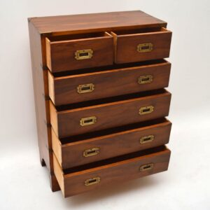 Antique Campaign Style Yew Wood Chest of Drawers