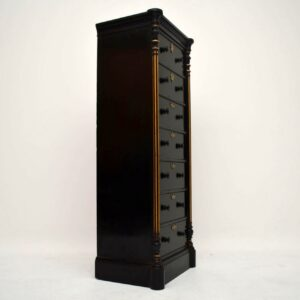 Antique Victorian Ebonised Wellington Chest of Drawers