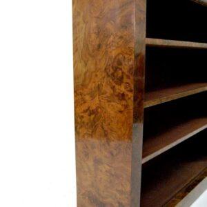 Reconstructed Stunning Antique Victorian Burr Walnut Open Bookcase