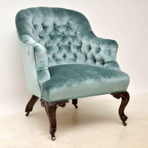 Pair of Antique Victorian Deep Buttoned Armchairs