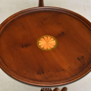 Pair of Antique Inlaid Yew Wood Wine Tables
