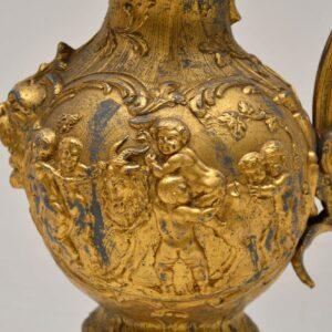 Large Antique Gilt Metal Flagon Lamp