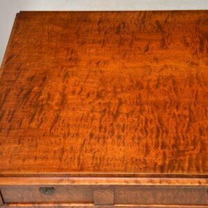Large Antique Swedish Satin Birch Desk