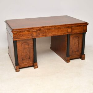 Large Antique Swedish Satin Birch Desk