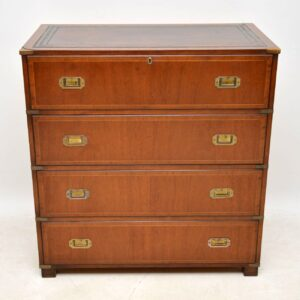 Antique Military Campaign Mahogany Secretaire Chest of Drawers