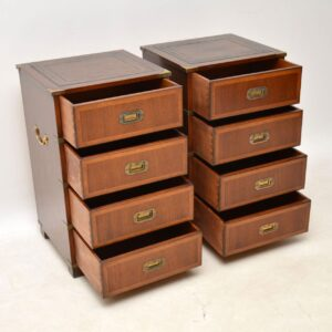 Pair of Antique Mahogany Campaign Style Bedside Chests