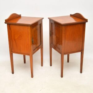 Pair of Antique Edwardian Inlaid Satin Wood Bedside Cabinets