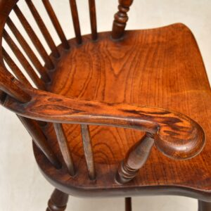 Antique Victorian Solid Elm Windsor Armchair