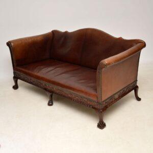 Antique Swedish Leather & Mahogany Sofa