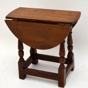Small Antique Solid Oak Drop Leaf Occasional Table