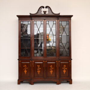 Antique Mahogany Breakfront Bookcase with Stunning Satinwood Inlays