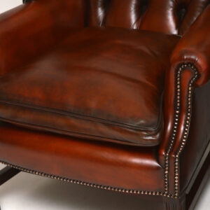 Pair of Antique Chippendale Style Leather Wing Armchairs (Customizable Upon Request)