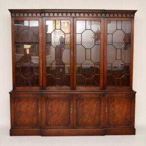 Antique Georgian Style Mahogany Breakfront Bookcase
