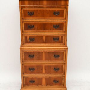 Antique Georgian Style Yew Wood Chest on Chest
