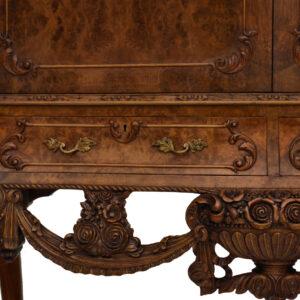 Antique Hand Carved Burr Walnut Cocktail Cabinet
