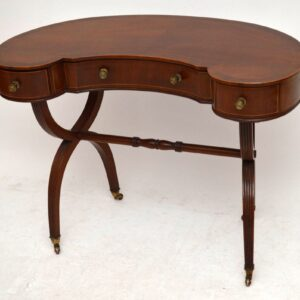 Antique Edwardian Inlaid Mahogany Desk / Writing Table / Dressing Table