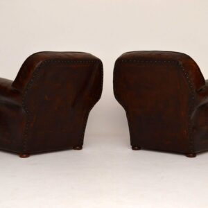 Large Pair of Antique English Leather Club Armchairs