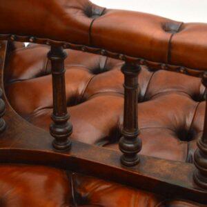 Antique Victorian Leather & Walnut Conversation Sofa