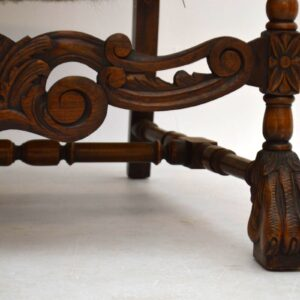Pair of Antique Carved Walnut Tapestry Armchairs