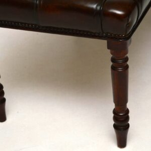 Antique Deep Buttoned Leather Stool on Mahogany Legs