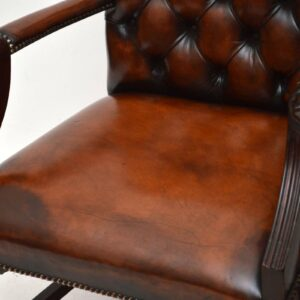 Pair of Antique Leather & Mahogany Gainsborough Armchairs