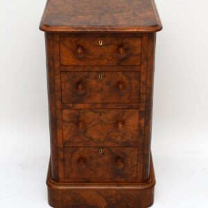 Stunning Pair of Antique Victorian Burr Walnut Bedside Chests