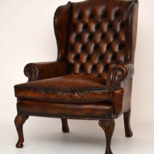Pair of Antique Georgian Style Leather Wing Back Armchairs