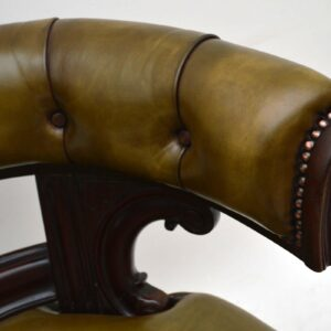 Antique William IV Mahogany & Leather Desk Armchair
