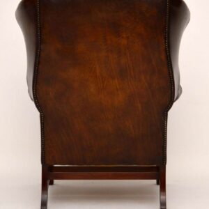 Antique Wide Deep Buttoned Leather Wing Back Armchair