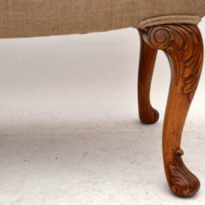 Antique Carved Walnut Gondola Window Seat Stool