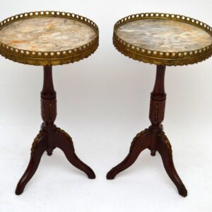 Pair of Antique French Style Marble Top Wine Tables