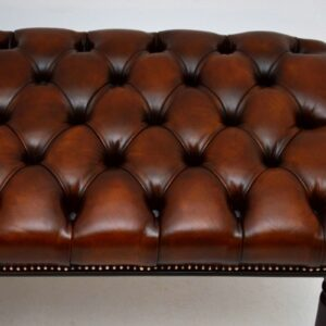 Long Antique Mahogany Deep Buttoned Leather Stool