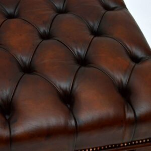 Antique Deep Buttoned Leather & Mahogany Stool / Coffee Table