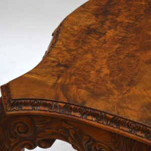 Antique Carved Burr Walnut Shaped Coffee Table