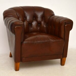 Pair of Antique Swedish Leather Club Armchairs