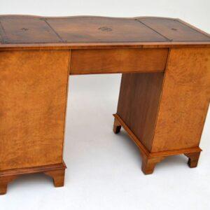 Antique Georgian Style Walnut Leather Top Desk