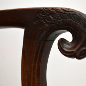 Pair of Antique Leather & Walnut Eagle Head Armchairs