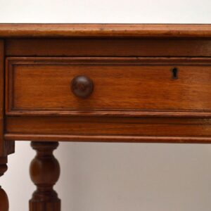 Antique Early Victorian Mahogany Leather Top Writing Table Desk