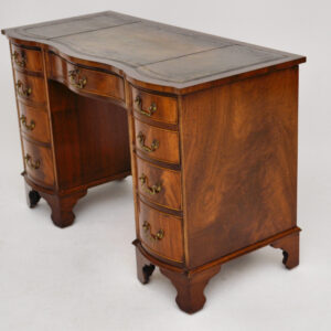 Antique Georgian Style Flame Mahogany Leather Top Desk