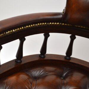 Antique Victorian Style Leather Captains Desk Armchair